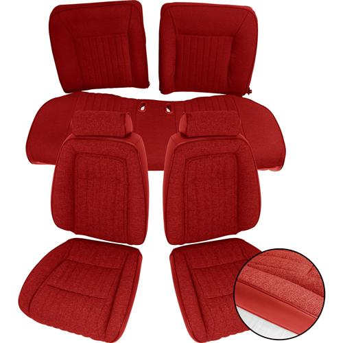 TMI Mustang Sport Seat Upholstery Red Cloth (87-89) Convertible