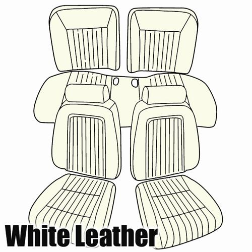 TMI Mustang Seat Upholstery Oxford White Leather (87-89) Convertible