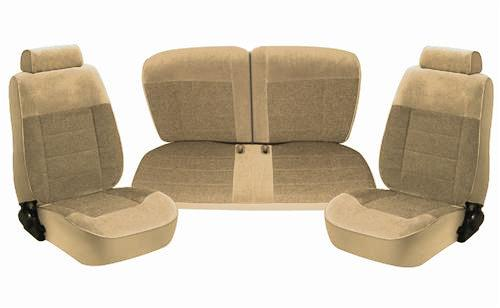 TMI Mustang Seat Upholstery Sand Beige Cloth (87-89) LX Hatchback