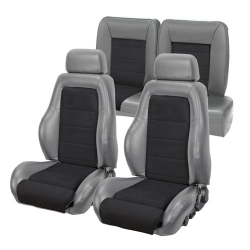 TMI Mustang 03-04 Cobra Seat Upholstery w/ Seat Foam Smoke Gray/Black Suede (87-89) Coupe