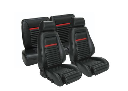 TMI Mustang Mach 1 Style Seat Upholstery Black Vinyl (84-89) Hatchback