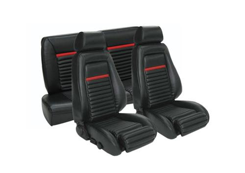 TMI Mustang Mach 1 Sport Seat Upholstery Black/Red Vinyl (87-89) Coupe
