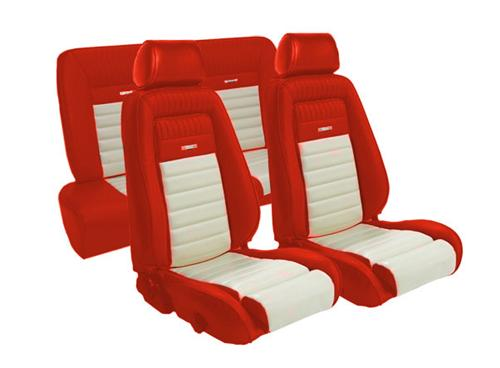 TMI Mustang Pony Style Seat Upholstery Red/White Vinyl (87-89) Hatchback
