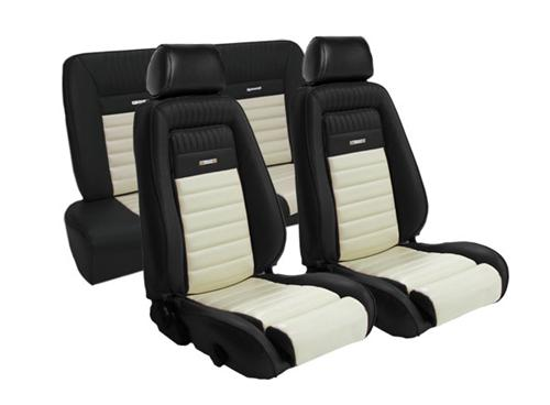 TMI Mustang Pony Sport Seat Upholstery Black/White Vinyl (87-89) Coupe