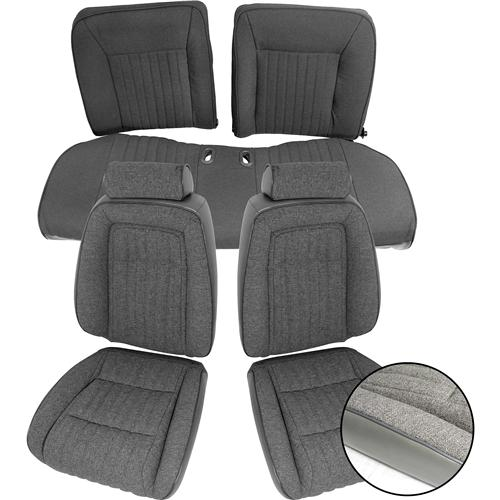TMI Mustang Sport Seat Upholstery Smoke Gray Cloth (87-89) Hatchback