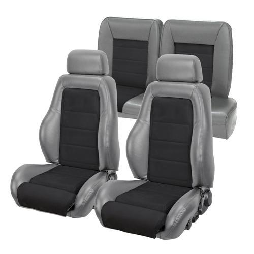 Mustang 03-04 Cobra Style Upholstery with Seat Foam Smoke Gray Vinyl/ Black Suede Insert (87-89) Convertible
