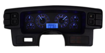 1987-93 1987-93 Mustang Dakota Digital Vhx GaugeCluster. Carbon Face/Blue Backlighting