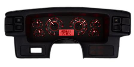 1987-93 Mustang Dakota Digital Vhx Gauge Cluster. Carbon Face/Red Backlighting