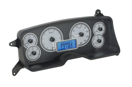 1987-93 Mustang Dakota Digital Vhx Gauge Cluster.  - Picture of 1987-93 Mustang Dakota Digital Vhx Gauge Cluster. Alloy Satin Face/Blue Backlighting  Here Is The Link To The Pic And Description. This Is The Alloy Satin Look with Blue Backlighting for Th