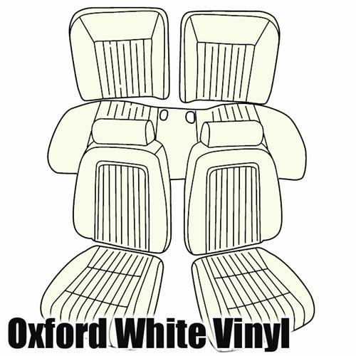 TMI Mustang Sport Seat Upholstery Oxford White Vinyl (90-91) Convertible
