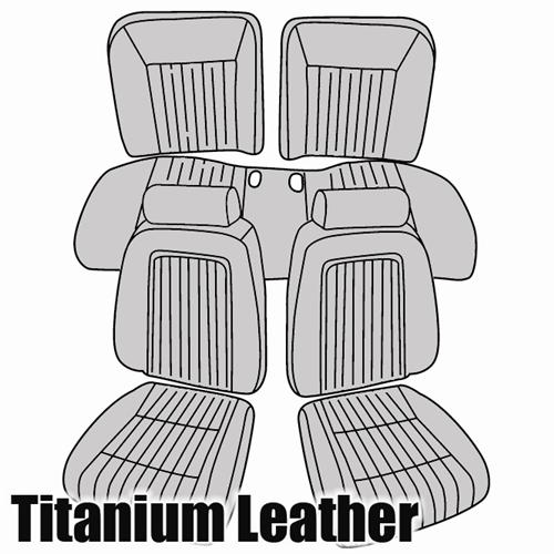 TMI Mustang Sport Seat Upholstery Titanium Gray Leather (90-91) Hatchback