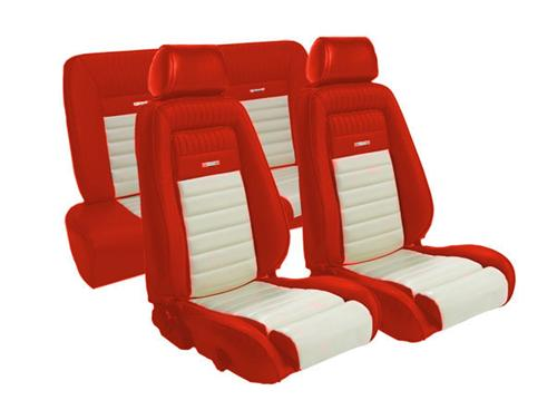 TMI Mustang Pony Seat Upholstery Red/White Vinyl (90-91) Hatchback