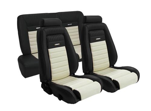 TMI Mustang Pony Seat Upholstery Black/White Vinyl (90-91) Coupe