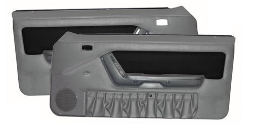 Mustang Power Window Door Panels Titanium Gray w/Black Suede Insert/Gray Map Pocket (90-92)