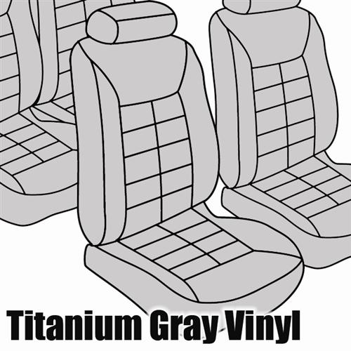 TMI Mustang Seat Upholstery Titanium Gray Vinyl (90-92) LX Coupe