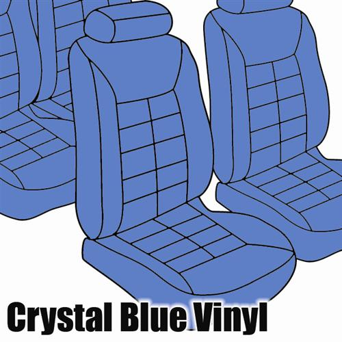 TMI Mustang Seat Upholstery Crystal Blue Vinyl (90-92) LX Coupe