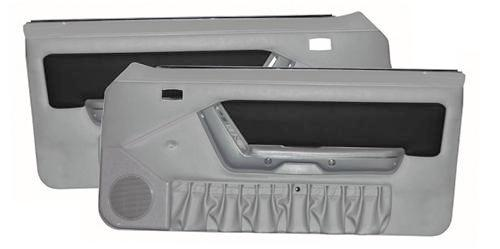 1990-92 Mustang Power Window Door Panels Titanium Gray w/ Black Suede Insert/Gray Map Pocket 90-92 Application.    - Picture of 1990-92 Mustang Power Window Door Panels Titanium Gray w/ Black Suede Insert/Gray Map Pocket 90-92 Application.