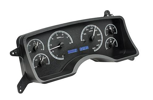 1990-93 Mustang Dakota Digital Gauge Cluster. Black Alloy, Blue Odometer Picture - 1990-93 Mustang Dakota Digital Gauge Cluster. Black Alloy, Blue Odometer Picture