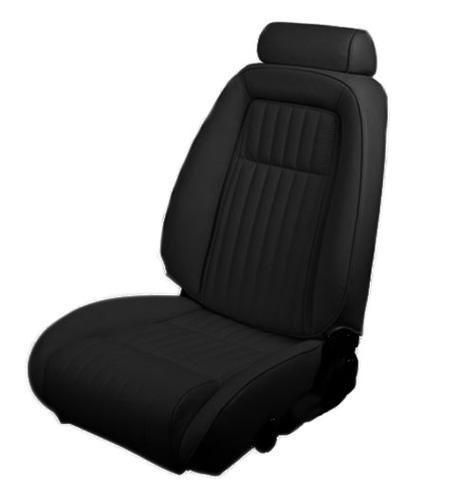 1992-93 Mustang Hatchback Black Vinyl Seat Upholstery, for sport seat without knee bolster  use lrs-9293cvaa for picture - Picture of 1992-93 Mustang Hatchback Black Vinyl Seat Upholstery