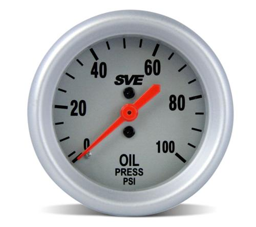 1994-02 Mustang Full Length Triple Gauge Pod with SVE Water, Oil Pressure, And Boost Gauge  Pod-93004 Sve-Ut89099 Sve-Ut89011 Sve-Ut89022 - Photo of SVE oil pressure gauge