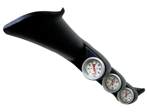 1994-02 Mustang Full Length Triple Gauge Pod with SVE Water, Oil Pressure, And Boost Gauge  Pod-93004 Sve-Ut89099 Sve-Ut89011 Sve-Ut89022