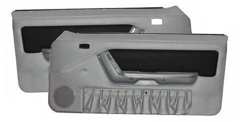 Mustang Power Window Door Panels Opal Gray W/Black Suede Insert/ Gray Map Pocket. (1993)