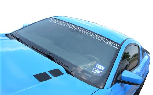 Mustang Latemodelrestoration.Com Windshield Banner White (05-14)