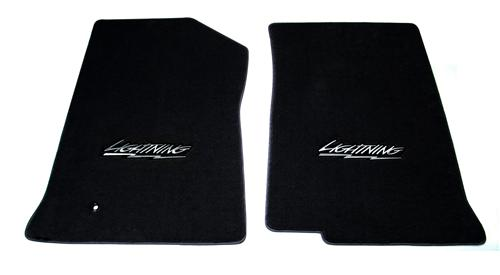 F-150 SVT Lightning Floor Mats with Lightning Logo Black  (99-04)