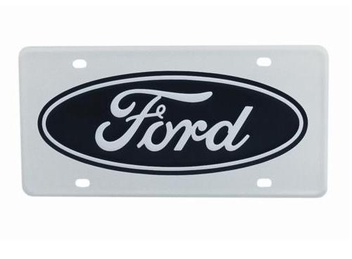 1979-14 MUSTANG LICENSE PLATE,  WHITE WITH FORD LOGO