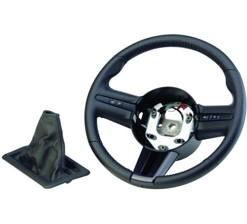 05-09 MUSTANG GT500 STEERING WHEEL WITH BLACK STITCHING AND MATCHING SHIFT BOOT, M-3601-C