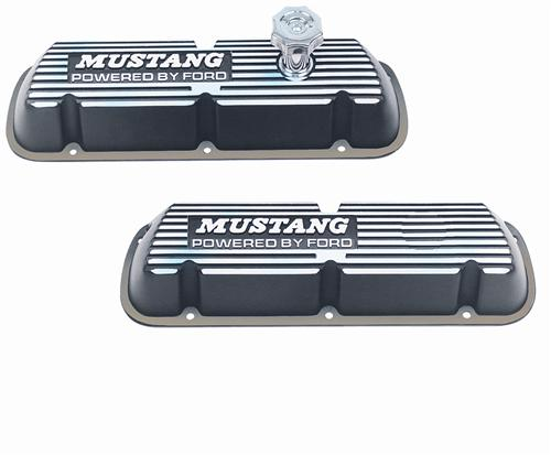 Ford Racing Mustang Valve Covers w/ Mustang Logo Black (86-93) 5.0L M-6000-E302