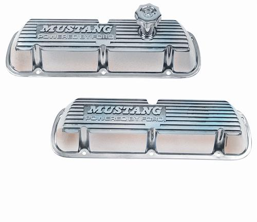 Ford Racing Mustang Valve Covers w/ Mustang Logo Polished (86-93) 5.0 M-6000-F302