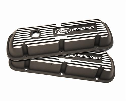 1979-85 MUSTANG BLACK VALVE COVERS WITH FORD RACING LOGO FOR CARBURETED 5.0L & 5.8L, M-6582-A301R