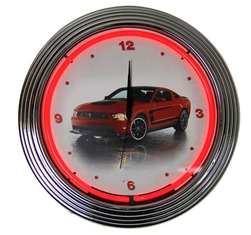 Ford Mustang Boss 302 Neon Clock - Picture of Ford Mustang Boss 302 Neon Clock