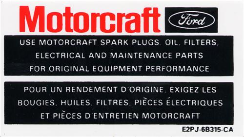 Motorcraft Mustang Parts Decal (84-85)
