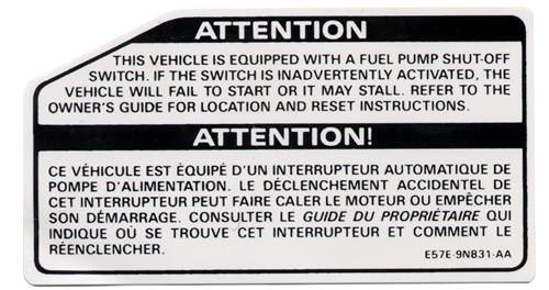 85-89 MUSTANG FUEL PUMP SHUTOFF DECAL