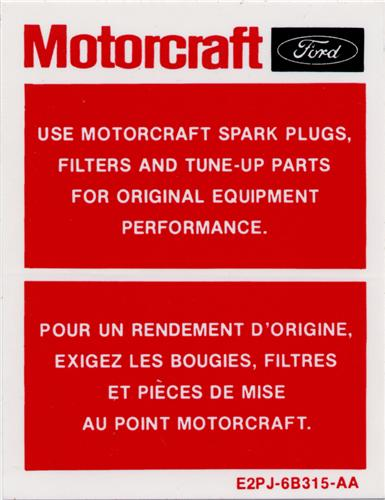 Motorcraft Mustang Parts Decal (82-83)