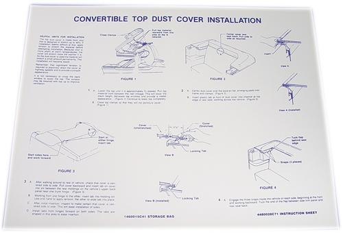 85-91 MUSTANG CONVERTIBLE DUST COVER INSTRUCTIONS DECAL