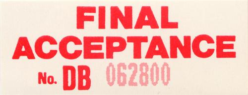 Mustang Assembly Line Final Acceptance Decal (84-94)