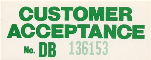 Mustang Assembly Line Customer Acceptance Decal (84-94)