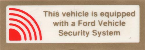 85-94 MUSTANG SECURITY SYSTEM DECAL