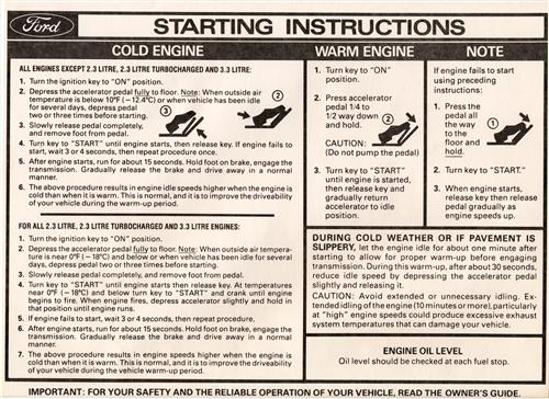 Mustang Starting Instructions Sun Visor Sleeve (79-80)