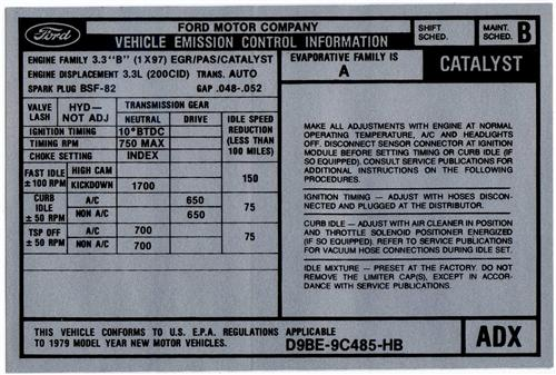 Mustang 3.3L V6 Emissions Decal (1979)