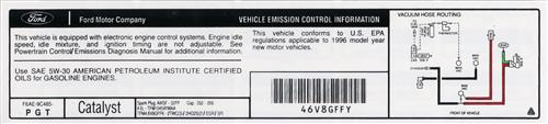 Mustang Emissions Decal (1996) GT 4.6 F6ae-9C485-Pgt