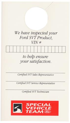 93-96 MUSTANG SVT MIRROR INSPECTION TAG DECAL