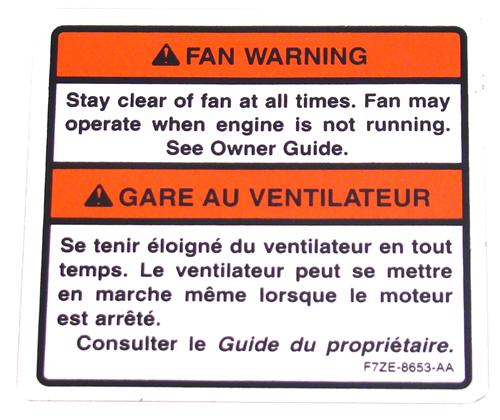 Mustang Fan Warning Decal (97-00)