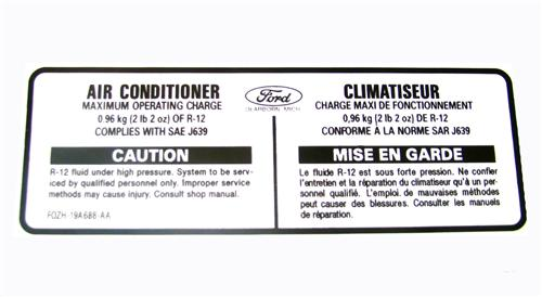 Mustang A/C Charge Decal (90-93)