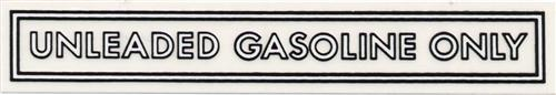 "4"" Unleaded Gasoline Only Decal Black/White"