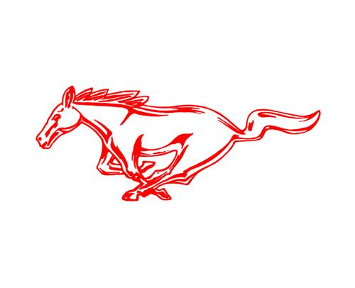 "Mustang 8"" Running Pony Decal LH Red"