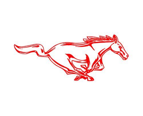 "Mustang 8"" Running Pony Decal RH Red"